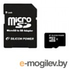 Карты памяти. microSD 32Gb Class10 Silicon Power SP032GBSTH010V10-SP + adapter