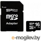 Карты памяти. microSDHC 16Gb Silicon Power [SP016GBSTH010V10-SP] Class 10 + SD Adapter